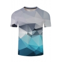 3D Blue and Grey Colorblock Geometric Print Short Sleeve Crewneck Loose Fit T-Shirt
