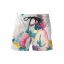 Stylish 3D Abstract Pattern Drawstring Waist Men's White Summer Beach Swim Shorts