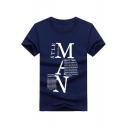 Unique Creative Letter MAN Print Basic Short Sleeve Men's Casual Cotton T-Shirt