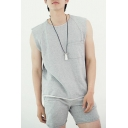 Men's Summer Casual Fashion Frayed Hem Sleeveless One Pocket Chest Plain Loose Cotton Tank Top