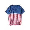 Fashion Blue and Red Tie Dye Unisex Loose Casual Short Sleeve T-Shirt