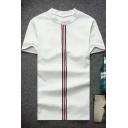 Fashion Vertical Striped Print Summer Short Sleeve Loose Fit T-Shirt