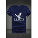 Popular Letter Eagle Printed Short Sleeve Basic Casual T-Shirt for Guys