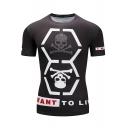 Men's Gym Stylish Skull Pattern Short Sleeve Quick Dry Stretch Tight Fitness Black T-Shirt