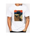 Fashion Cartoon Monster Van Gogh Oil Painting White Loose Fit T-Shirt