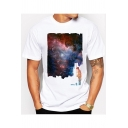 Funny Painted Galaxy Printed Classic-Fit Short Sleeve T-Shirt in White
