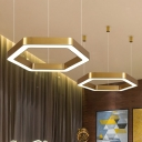 Modern Hexagon Pendant Light in Gold Finish Iron and Acrylic Drop Light 16/23.5 Inch Wide