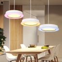 Hat Shape LED Pendant Light Nordic Style Metal and Acrylic LED Hanging Light for Kids Room