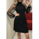 High Neck Sheer Long Sleeve Plain Pearl Embellished Sheath Mini Dress