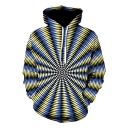 3D Whirlpool Printed Colorblock Leisure Yellow Hoodie