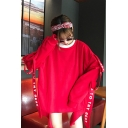 Street Style Letter Ribbon Round Neck Long Sleeve Oversized Tunic Sweatshirt