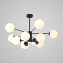 Multi Light Globe Hanging Lamp Contemporary Opal Glass Accent Chandelier for Sitting Room