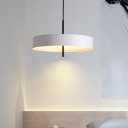 Acrylic Round LED Hanging Light Simple Length Adjustable Pendant Light in White