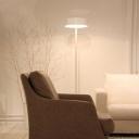 Metal Round Shade Floor Light Modern Simple 3 Light Floor Lamp in White for Sitting Room