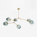 6 Light Branching Ceiling Lamp Designers Style Faded Glass Chandelier Light in Gold