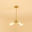 2 Light Bubble Hanging Light Industrial Mouth Blown Glass Chandelier in Gold for Bedroom