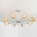 Branching Chandelier Modern Faded Glass 8 Light Hanging Light in Silver for Living Room