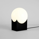 Globe Table Light Modern Designers Style Cream Glass Desk Light in Black for Bedroom
