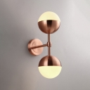 2 Light Ball Shade Wall Sconce Modern Chic Milky Glass LED Night Light in Copper