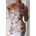 Spaghetti Straps Sleeveless Graffiti Pattern Bodycon Mini Dress
