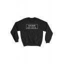 ANTI SOCIAL Letter Printed Long Sleeve Round Neck Black Leisure Sweatshirt