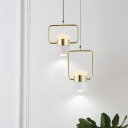Champagne Gold Cylinder LED Pendant Lighting Post Modern Metal Single Light Suspension Lamp