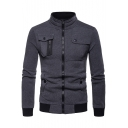 Stylish Contrast Trimmed Long Sleeve Stand Collar Multi-Way Zip Pocket Embellished Zip Up Fitted Sweatshirt
