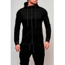 Men's Outdoor Sports Fashion Pleated Shoulder Long Sleeve Slim Fitted Plain Zip Hoodie