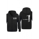 Letter DEPECHE MODE Abstract Figure Print Back Long Sleeve Zip Up Thick Hoodie