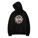 Fashion Boy Band Basic Simple Floral Letter Printed Long Sleeve Loose Fitted Hoodie