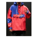 Men's Trendy Colorblock Fashion Letter LIY ROADS Print Button Embellished Loose Casual Windbreaker Hoodie