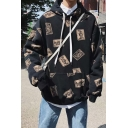Pop Fashion All Over Printed Long Sleeve Kangaroo Pocket Boxy Relaxed Hoodie for Guys