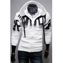 Men's Trendy Ombre Letter Printed Long Sleeve Zip Up Fitted Drawstring Hoodie
