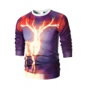 Chic 3D Fire Deer Printed Crew Neck Long Sleeve Pullover Purple Fitted Sweatshirt