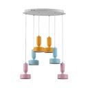 Modern Cluster Pendant Lights Metal 6 Light LED Hanging Pendant Fixture in Multi Color