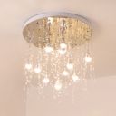 Crystal Waterdrop LED Ceiling Light Modern 12 Light Ceiling Pendant in White for Bedroom