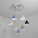 Colorful Cluster Pendant Light Macaron Nordic Style Metal 5 Light/7 Light LED Ceiling Pendant