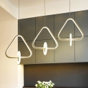 Triangle Drop Light Simplicity Acrylic 3 Light Art Deco Luminaire Lighting for Bedroom