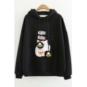 Thick Warm Plush Long Sleeve Cat Cat Letter Printed Cat Claw Embellished Ribbon Hoodie