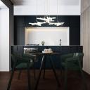 3 Light Leaf Design Drop Light Modern Acrylic Suspension Light for Children Room