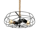 Wrought Iron 2 Light LED Close to Ceiling Light with Textured Rope Chain