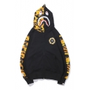 Popular Letter XO Printed Camouflage Patched Long Sleeve Black Zip Up Shark Hoodie