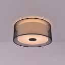 3 Light Drum Ceiling Light Modern Fashion Fabric Flush Mount Lighting in Black for Bedroom