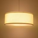 Off-White Round Suspension Light Modern Design Fabric 3 Head Drop Ceiling Lighting