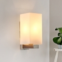 Milky Glass Rectangle Vanity Light Modern Fashion 1 Head Wall Lighting for Bedroom