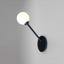 White Glass Ball Lighting Fixture Modern Design 1 Head Wall Sconce for Sitting Room
