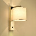 Drum Shade Wall Mount Light Modern Fashion 1 Light Sconce Light with Stainless Base