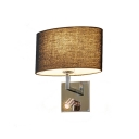 Black Oval Fabric Shade Sconce Light Simplicity Single Light Wall Lamp with Spotlight