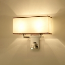 2 Lights Rectangle Sconce Light with Spotlight Modern Chic Stainless Wall Mount Light in Chrome