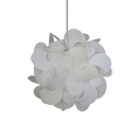 White Floral DIY Hanging Lamp Modernism Stylish Plastic Single Light Pendant Light